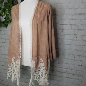Umgee Nude Open Front Boho Knit Lace Cardigan Sm